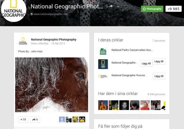 National Geographic Photography on Google+