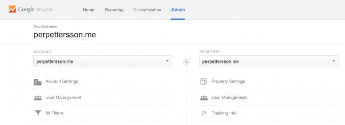 Google Analytics admin interface