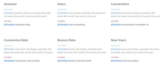 Statsbot commands in Slack