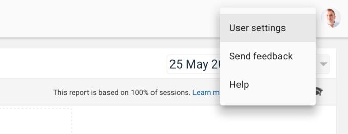 User settings in Google Analytics interface